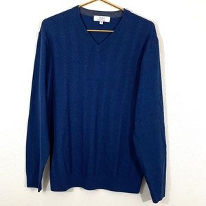 Turnbury V Neck Cable Knit Sweater Blue Medium